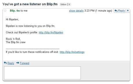 Weird message from Blip.fm